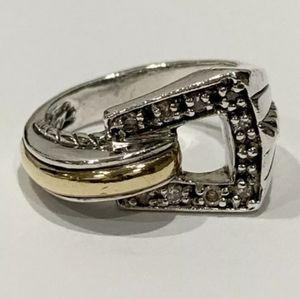 John Hardy 18kt Sterling Diamond Buckle Ring